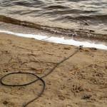 Die Kabel verschwinden im Stolper See.