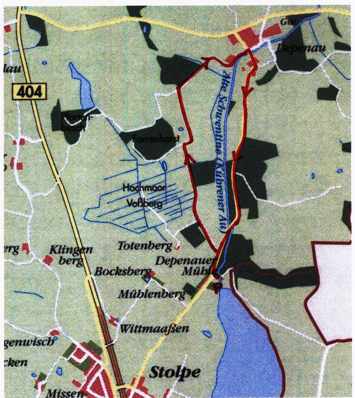 Fahrradtour durch das Depenauer Hochmoor - Karte
