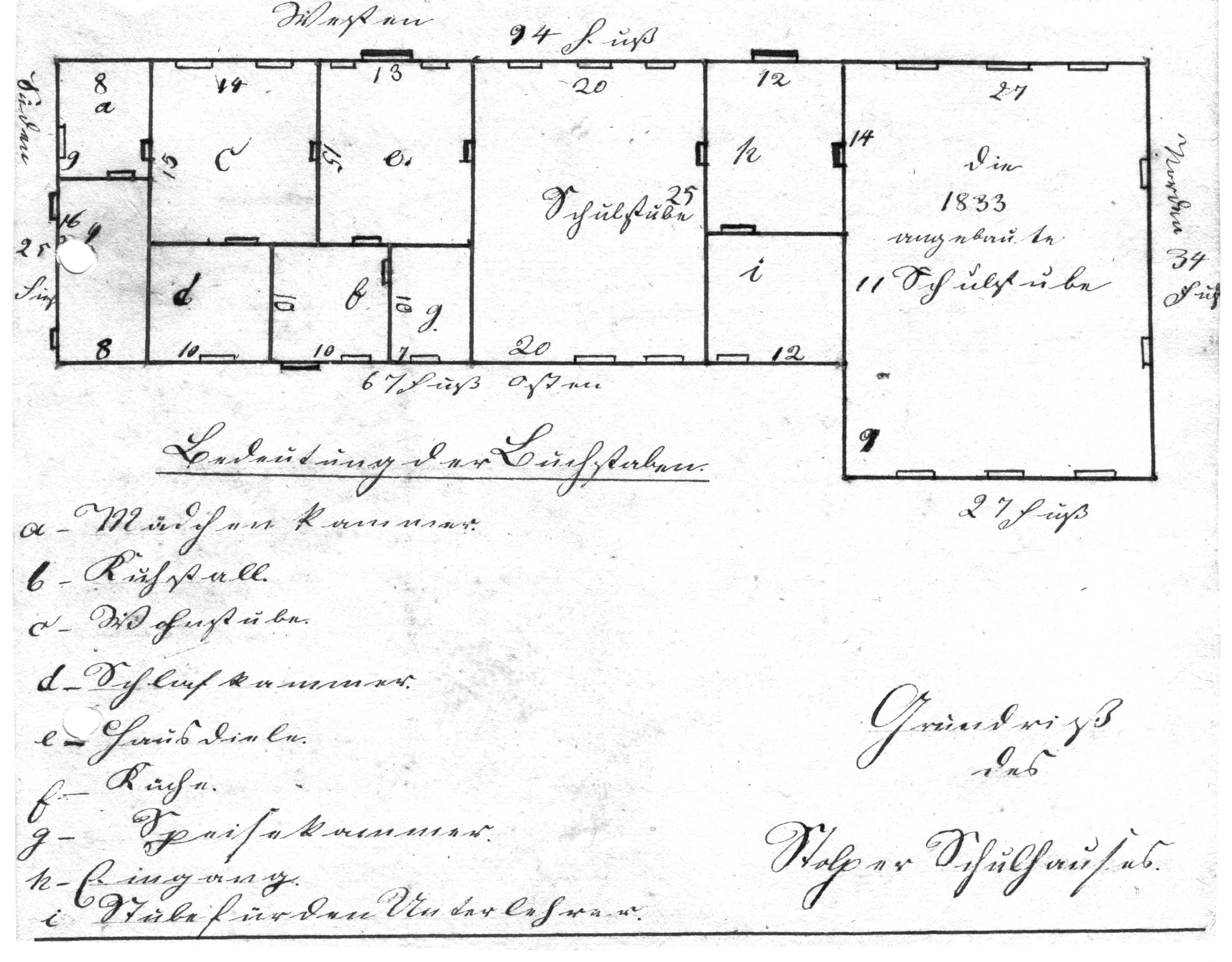 Grundriss Schule 1833