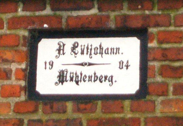 Schild Hof Lütjohann 1904
