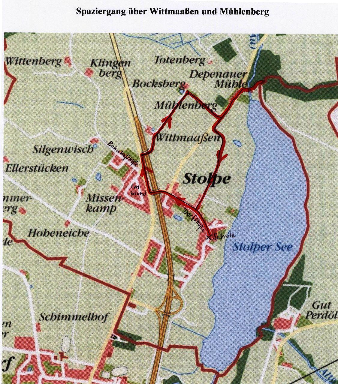 Spaziergang über Wittmaaßen und Mühlenberg - Karte
