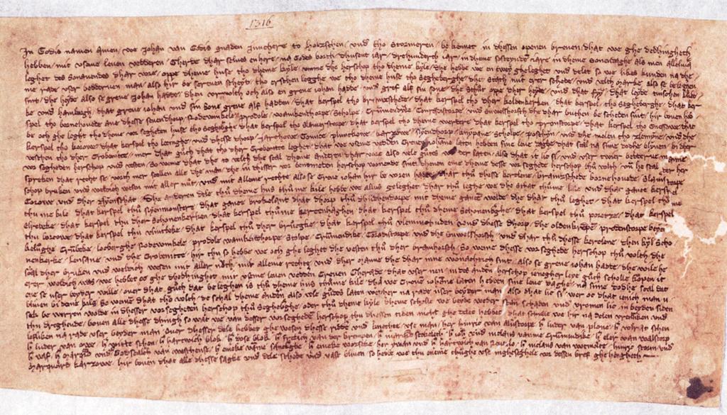 Urkunde von 1316