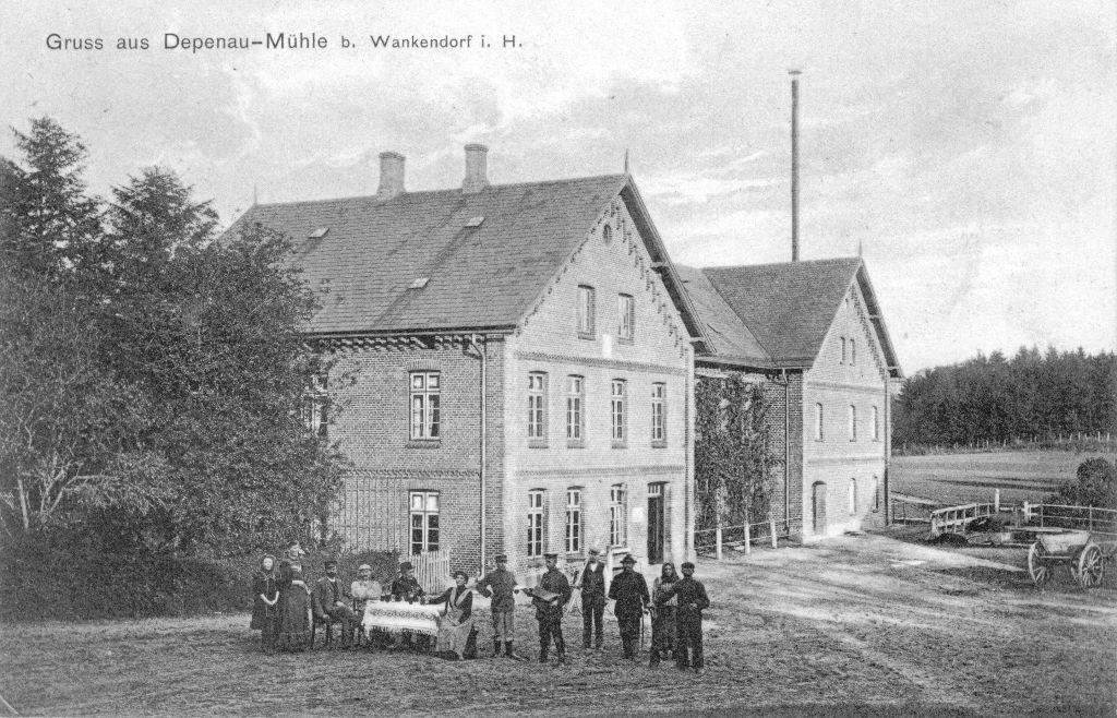 Depenauer Mühle 1911 mit Bewohnern -