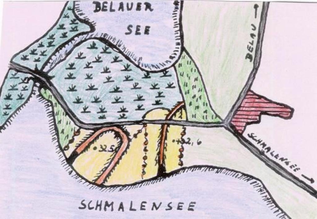 Lageplan der Belauburg - gefärbt