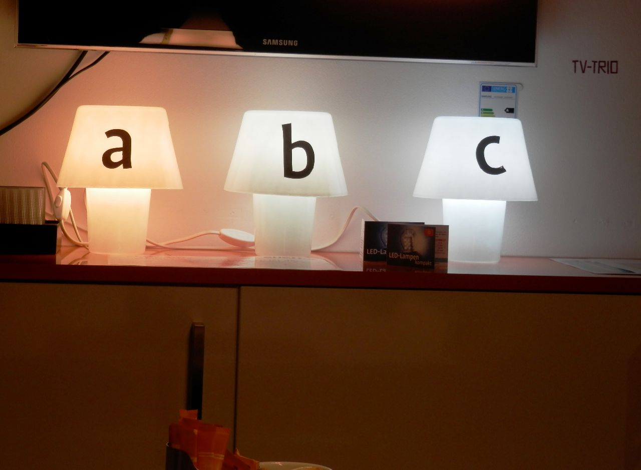Halogen-, Energiesparlampe und LED-Leuchte