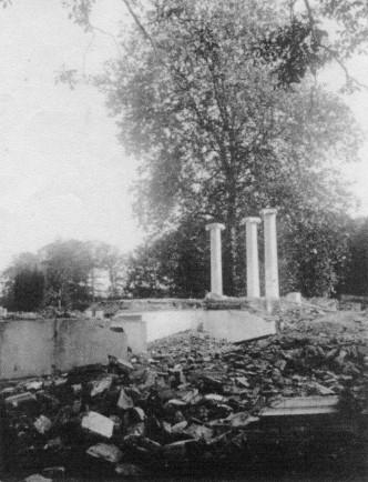 Abgebrochenes Schloss mit Platane