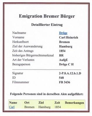 Emigrationsurkunde 1854