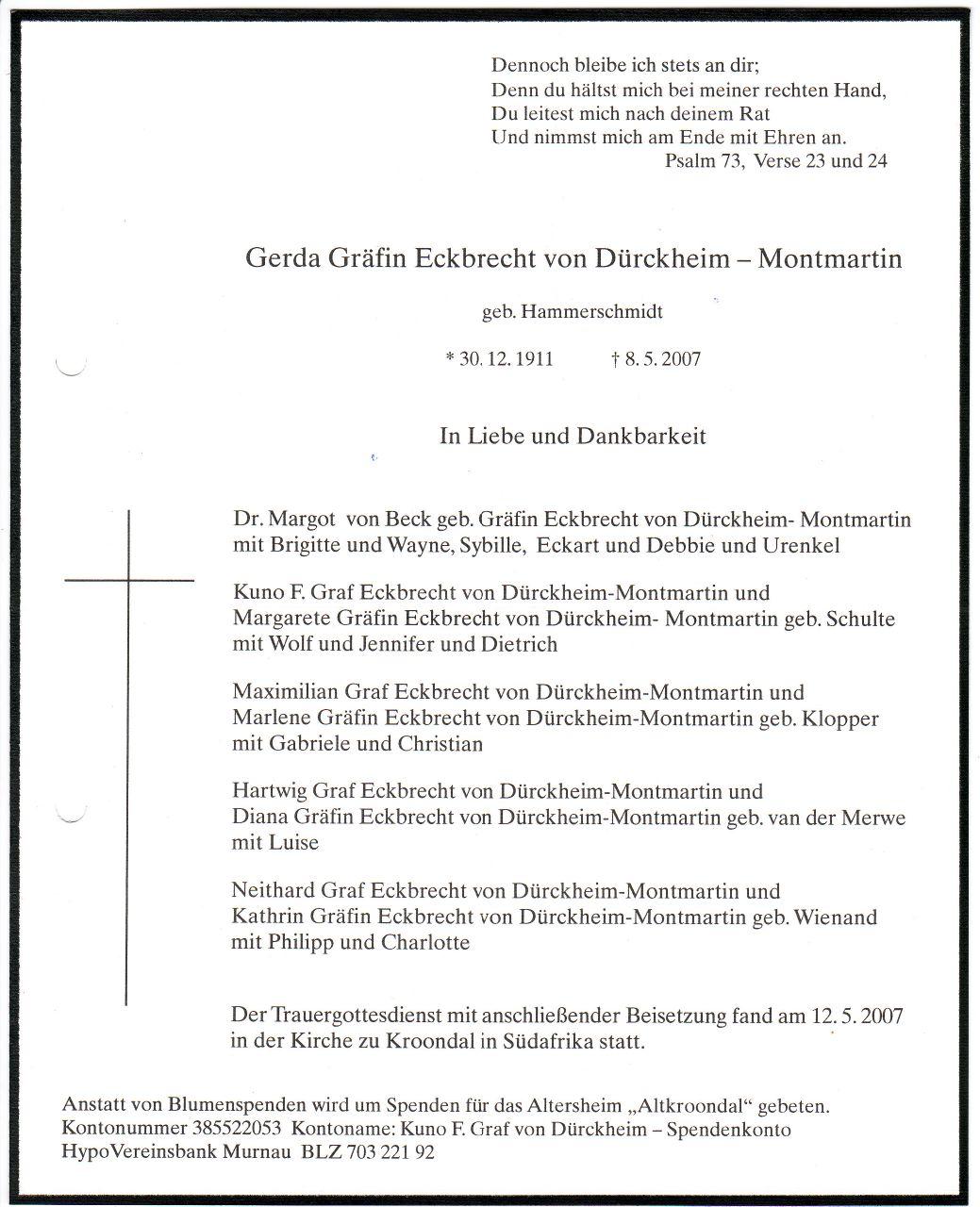 Todesanzeige von Gerda von Dürckheim
