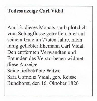 Todesanzeige Carl Vidal