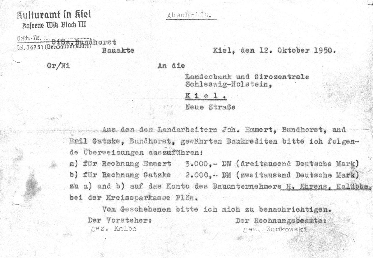 Auszahlung Kulturamt 1950