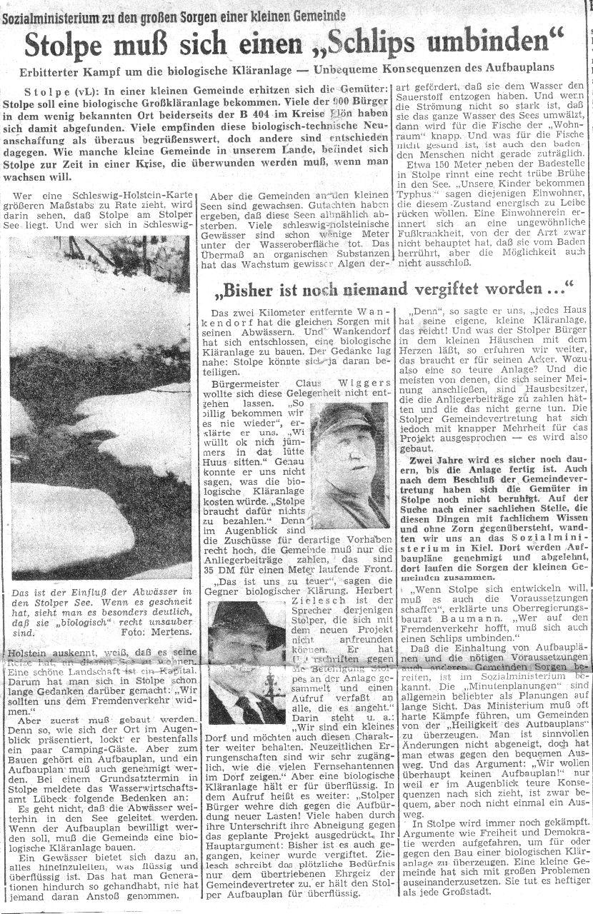 1961 Streit um den Bau einer biol. Kläranlage