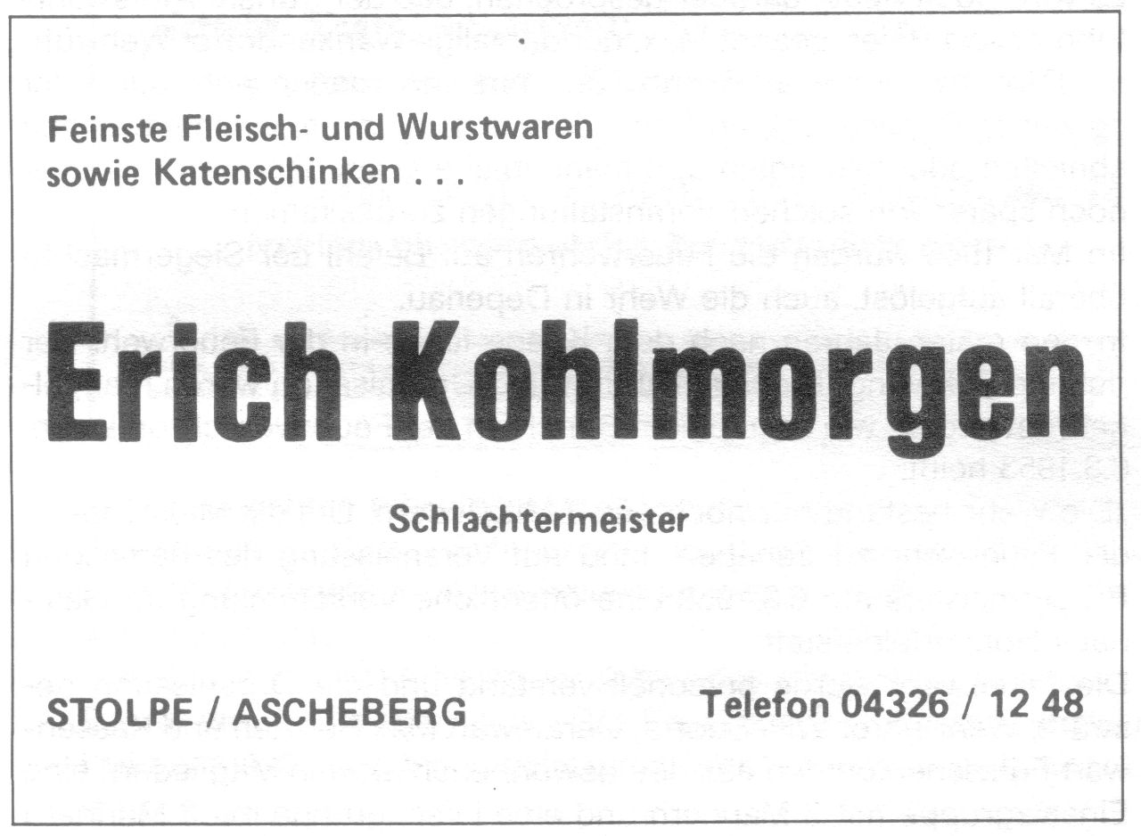 Schlachterei Kohlmorgen Anz 1984