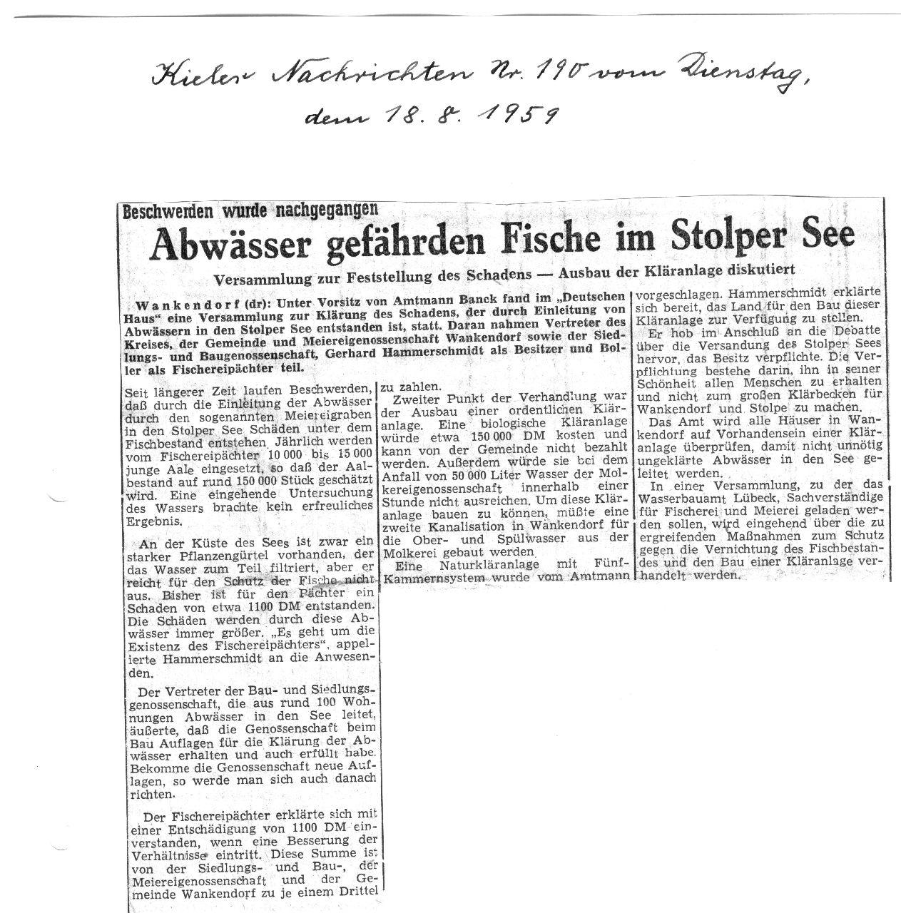 1959 Abwässer gefährden Fische