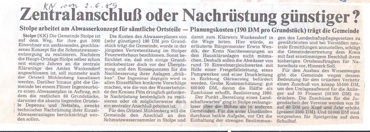 1989 Ausbau Abwasser Mühlenberg KN