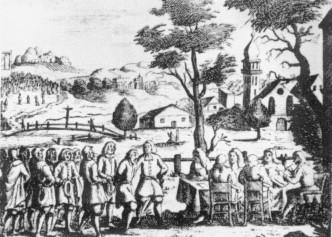 Gerichtsverhandlung auf dem Dorfe 17. JH