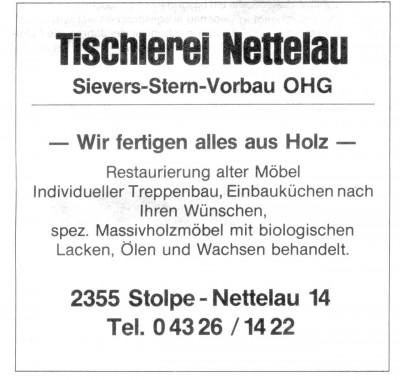 Tischlerei Nettelau Anzeige 1984