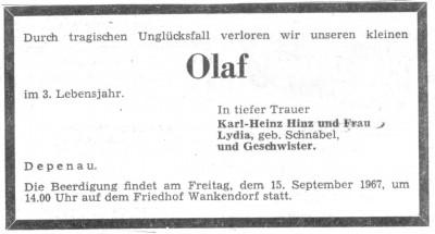 Todesanzeige Olaf Hinz